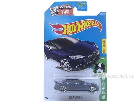 Hình ảnh chiếc xe Hot Wheels Tesla Model S từ vỏ hộp sản phẩm