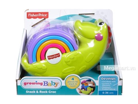 Vỏ hộp sản phẩm đồ chơi trẻ sơ sinh Fisher Price Xếp chồng cá sấu