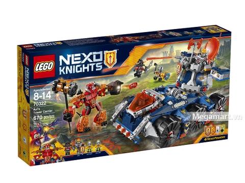Hình ảnh của hộp sản phẩm Lego Nexo Knights 70322 - Tháp canh di động của Axl