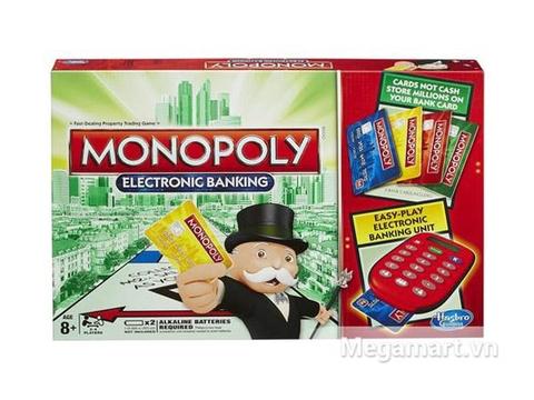 Hình ảnh vỏ hộp bộ Hasbro Gaming Cờ tỷ phú Monopoly ngân hàng điện tử
