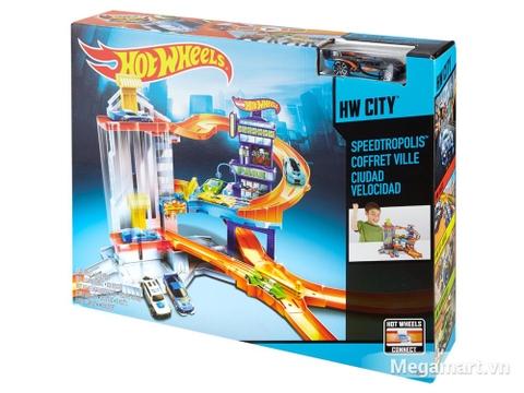 Hình ảnh vỏ hộp bộ Hot Wheels Tháp đua
