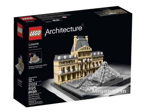 Vỏ hộp đựng sản phẩm Lego Architecture 21024 - Viện bảo tàng Louvre