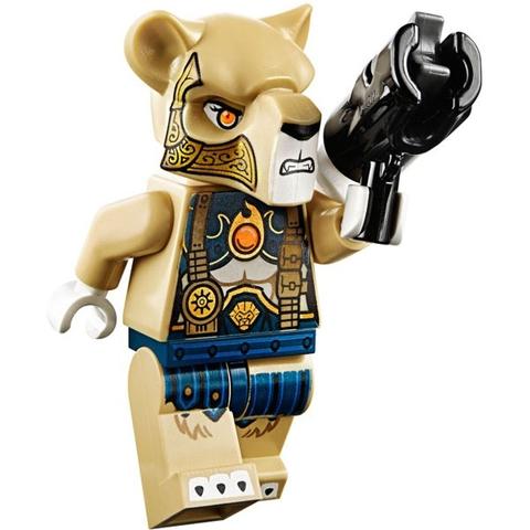 Nhân vật sư tử với chiếc súng màu đen và những chi tiết nổi bật trong bộ xếp hình Lego Chima 70229 - Bộ Tộc Sư Tử