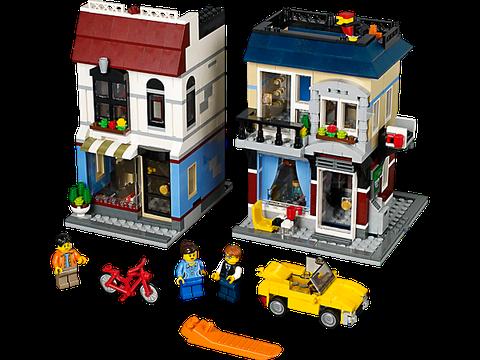 Khu phố tập nập cùng đa dạng các hoạt động buôn bán trong Lego Creator 31026 - Cửa Hàng Xe Đạp và Quán Cà Phê