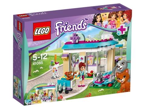 Hình ảnh bên ngoài vỏ hộp bộ đồ chơi Lego Friends 41085 - Phòng Khám Thú Cưng