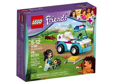 Hình ảnh thực tế bên ngoài hộp đựng Lego Friends 41086 - Xe Cấp Cứu Thú Nuôi