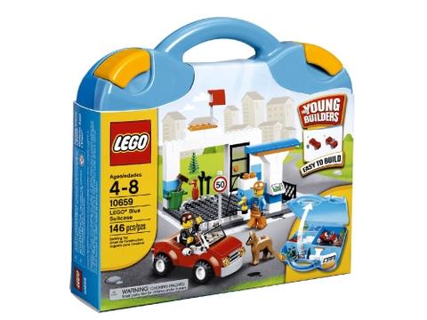 Hình ảnh vỏ hộp đựng bên ngoài của bộ đồ chơi Lego Juniors 10659 - Vali Lắp Ráp Xanh Dương