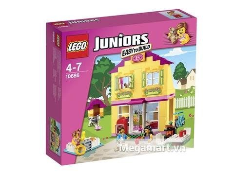 Vỏ hộp màu hồng tím của đồ chơi Lego Juniors 10686 - Nhà ở gia đình