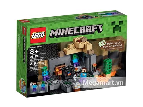 Hình ảnh bên ngoài vỏ hộp bộ đồ chơi Lego Minecraft 21119 - Ngục tối bí ẩn