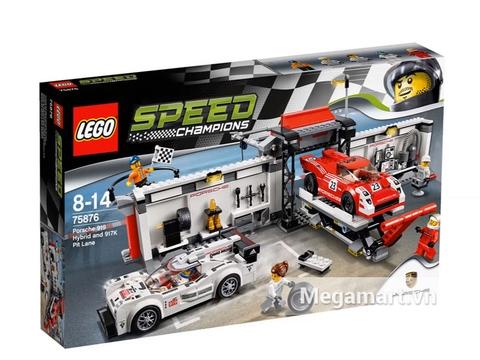 Hộp đựng bộ xếp hình Lego Speed Champions 75876 - Xe Đua Porsche 919 Hybrid Và Xe Đua 917K Pit Lane