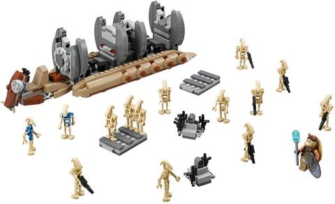 Đây là trọn bộ các chi tiết và mô hình có được sau khi hoàn thành lắp ráp Lego Star Wars 75086 - Battle Droid Troop Carrier