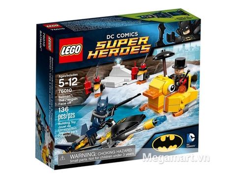 Vỏ hộp sản phẩm Lego Super Heroes 76010 - Trận chiến với Chim cánh cụt