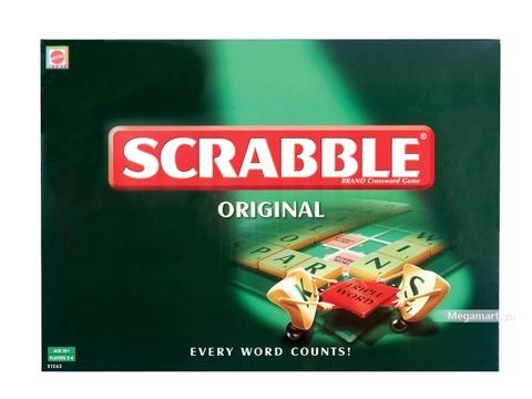Hình ảnh vỏ hộp bộ Mattel Games Scrabble Trò chơi ghép chữ tiếng anh (màu đen)