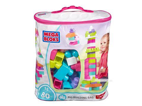 Hình ảnh vỏ hộp bộ Mega Bloks Xếp khối cơ bản túi lớn hồng (80 khối)