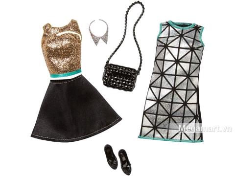 Barbie Bộ sưu tập thời trang váy bạc và vàng đen - các trang phục, phụ kiện barbie