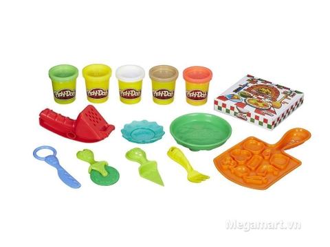 Đồ chơi Play-Doh B1856 - Bữa tiệc pizza với 5 hộp đất nặn và 8 dụng cụ làm bánh