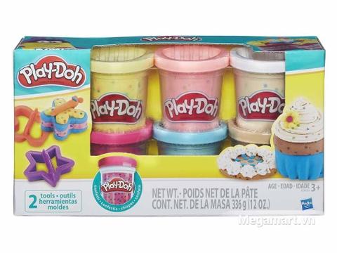 Play-Doh B3423 - Bột nặn 6 màu hạt cốm - Hình ảnh vỏ hộp