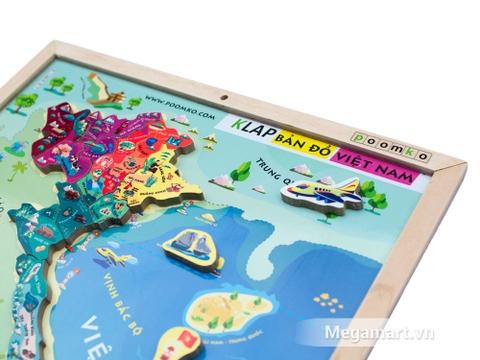 Đồ chơi gỗ Bản đồ Việt Nam và biển đảo có nhiều miếng ghép sinh động và bổ ích