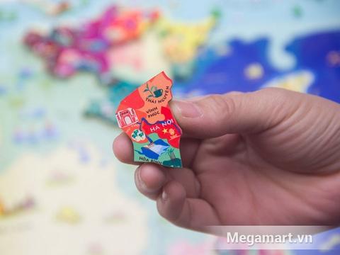 Các mảnh ghép đồ chơi gỗ có trong bộ Poomko Bản đồ Việt Nam và biển đảo A3