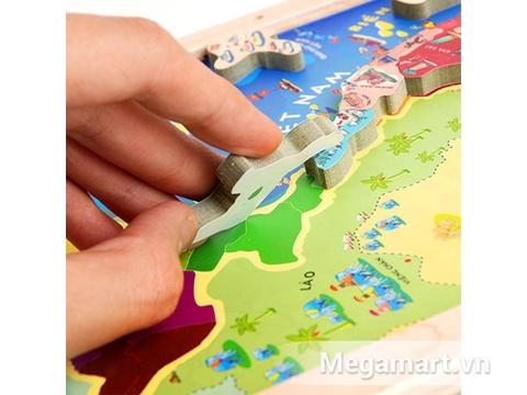 Poomko Bản đồ Việt Nam và biển đảo A4 với các mảnh ghép sinh động có gắn nam châm