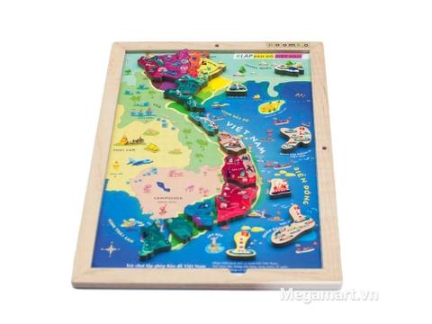 Hình ảnh sản phẩm đồ chơi gỗ Poomko Bản đồ Việt Nam và biển đảo A4