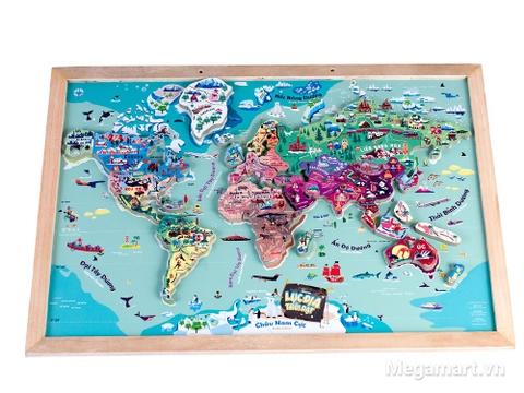 Bộ đồ chơi gỗ Poomko Lục địa trôi dạt - Bản đồ thế giới A3