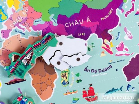 Các chi tiết có trong bộ Poomko Lục địa trôi dạt - Bản đồ thế giới A3