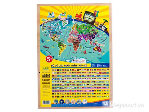 Mặt sau đồ chơi Poomko Lục địa trôi dạt - Bản đồ thế giới A3