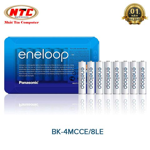 Vỉ 8 pin sạc AAA Eneloop 750mAh BK-4MCCE/8LE (HR03) - made in Japan (Trắng)