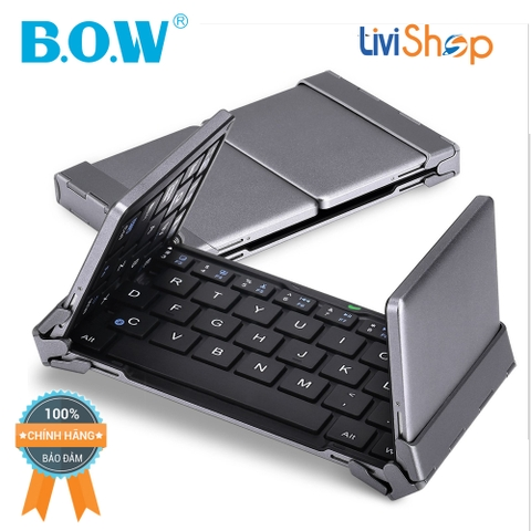 Bàn phím Bluetooth Full Size BOW HB099 Xếp Gấp Nhỏ Gọn cho Tablet IOS Android và Windows (Dual Mode : Bluetooth/Wired - Backlit)