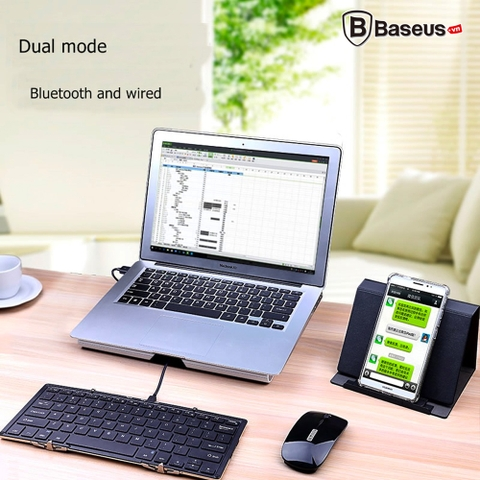 Bàn phím Bluetooth Full Size BOW HB099-56 Xếp Gấp Nhỏ Gọn cho Tablet IOS Android và Windows (Dual Mode : Bluetooth/Wired - Backlit)