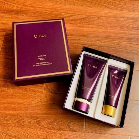 SET SỬA RỬA MẶT OHUI AGE RECOVERY GEL TO OIL CLEANSER SET (2SP)-