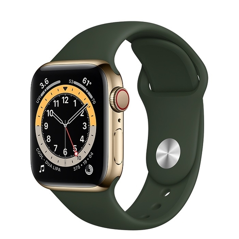 Apple Watch Series 6 GPS + Cellular Gold Stainless Steel Case with Cyprus Green Sport Band