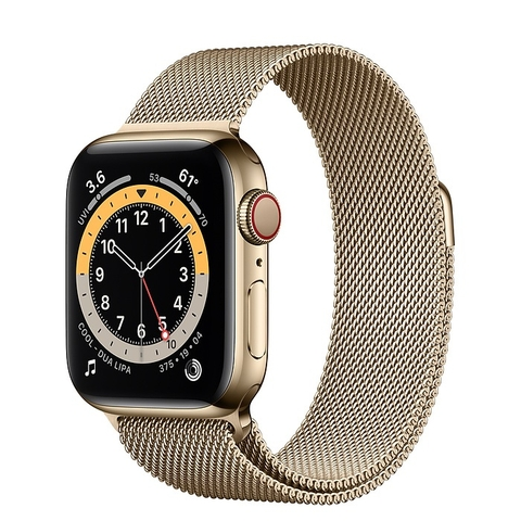 Apple Watch Series 6 GPS + Cellular Gold Stainless Steel Case with Gold Milanese Loop