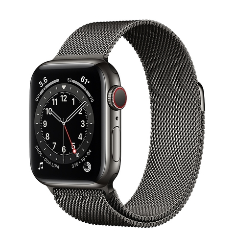 Apple Watch Series 6 GPS + Cellular Graphite Stainless Steel Case with Graphite Milanese Loop