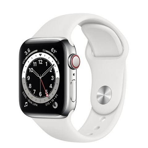 Apple Watch Series 6 GPS + Cellular Silver Stainless Steel Case with White Sport Band
