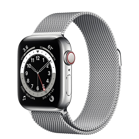 Apple Watch Series 6 GPS + Cellular Silver Stainless Steel Case with Silver Milanese Loop