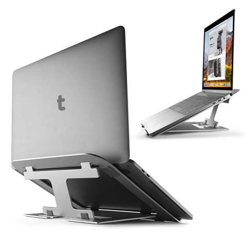 ĐẾ TẢN NHIỆT CƠ ĐỘNG TOMTOC (USA) ALUMIUM FOLDABLE FOR IPAD/MACBOOK & ANOTHER TABLET/LAPTOP 11″- 15.6INCH (SILVER)