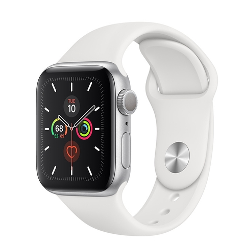 Apple Watch Series 5 Silver Aluminium Case with White Sport Band (GPS)