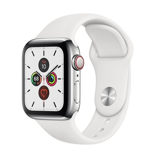 Apple Watch Series 5 44mm Stainless Steel Case with White Sport Band (GPS+CELLULAR) Chính Hãng VN/A