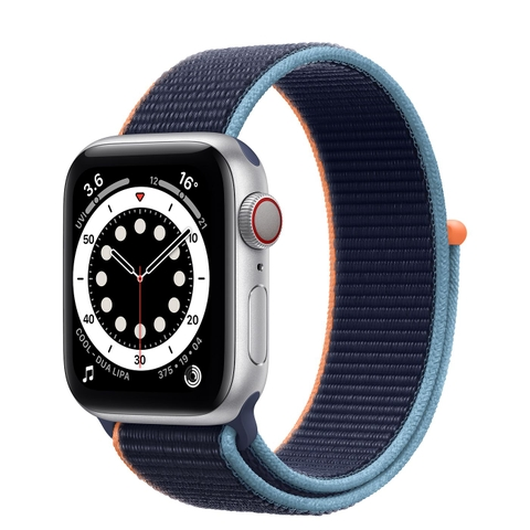 Apple Watch SE GPS + Cellular 40mm Silver Aluminium Case with Deep Navy Sport Loop VN/A