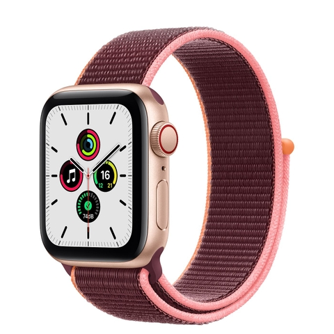 Apple Watch SE GPS + Cellular 40mm Gold Aluminium Case with Plum Sport Loop VN/A
