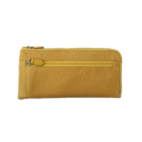 Ostrich Leather Wallet Yellow