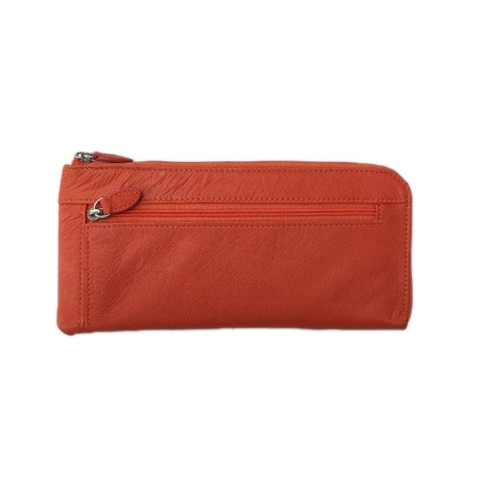 Ostrich Leather Wallet Orange