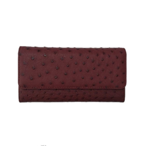 Ostrich Leather Wallet Red