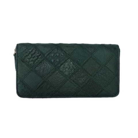Ostrich Leather Wallet Green