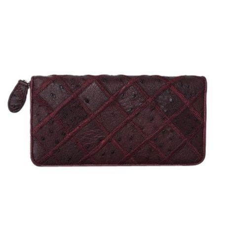 Ostrich Leather Wallet Red Plum