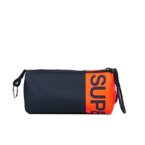 Superdry Kewer Two Zip Pencil Case Navy/Orange