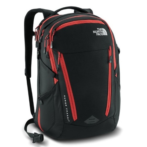 The North Face Surge Transit 2016 Backpack Black/Pompeian Red
