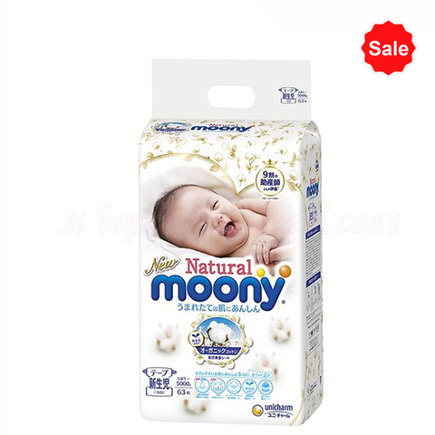 Tã - Bỉm dán Moony Natural NB63 (<5kg)